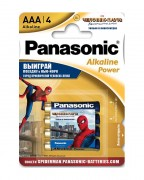 Батарейка Panasonic Alkaline Power LR03APB/4BPS RU Spider-Man LR03 + наклейка BL4