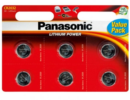 Panasonic Lithium Power CR-2032EL/6BW CR2032 BL6