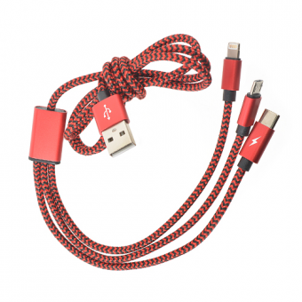 Кабель зарядный ROBITON P12 Multicord Lightning (Apple 8pin), Micro-USB и Type-C красный PH1