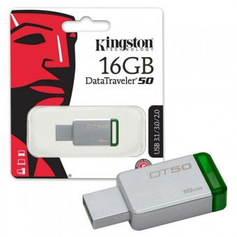 Флешка KINGSTON USB 3.1/3.0/2.0  16GB  DataTraveler  DT50 металл с зеленым BL1