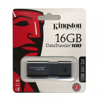 Карта памяти KINGSTON USB 3.0/2.0 16GB DataTraveler 100 G3 черный BL1
