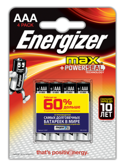 Батарейка Energizer MAX+Power Seal LR03 BL4, 4 шт в упаковке.